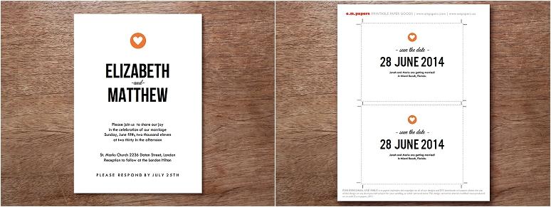 empapers Hochzeitskarten modern mit Herz