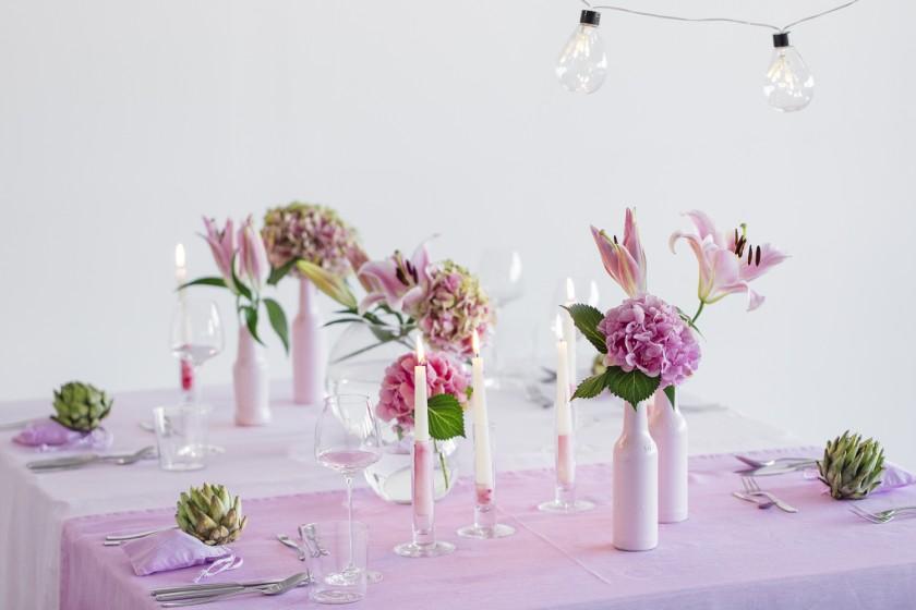 Hochzeitsdekoration im Farbverlauf