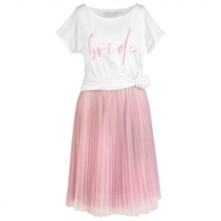 Tüllrock in rosé mit weißem Braut Longshirt