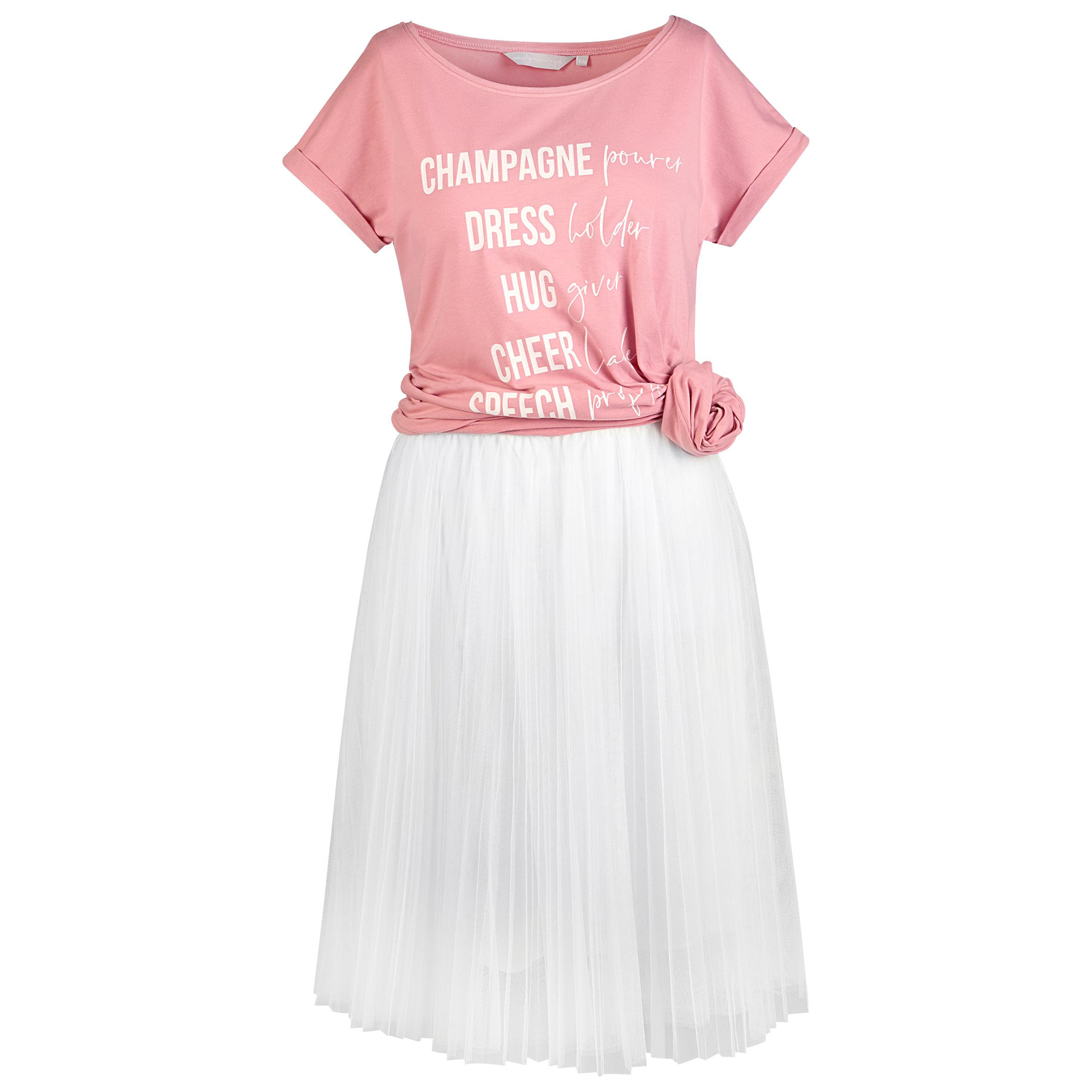 Tüllrock in weiß mit rosé farbenem Brautjungfern Shirt