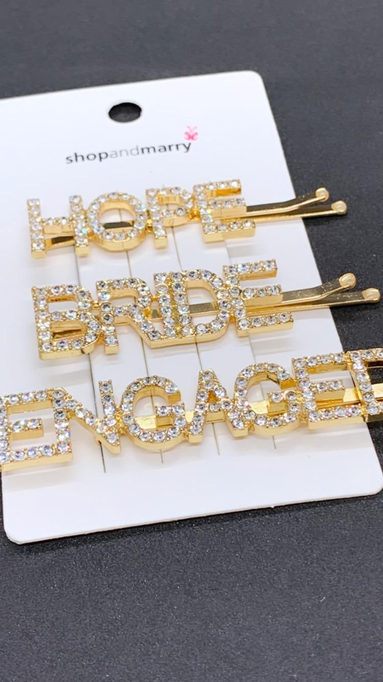 Wunderschönes Haarspangenset für die Braut in gold