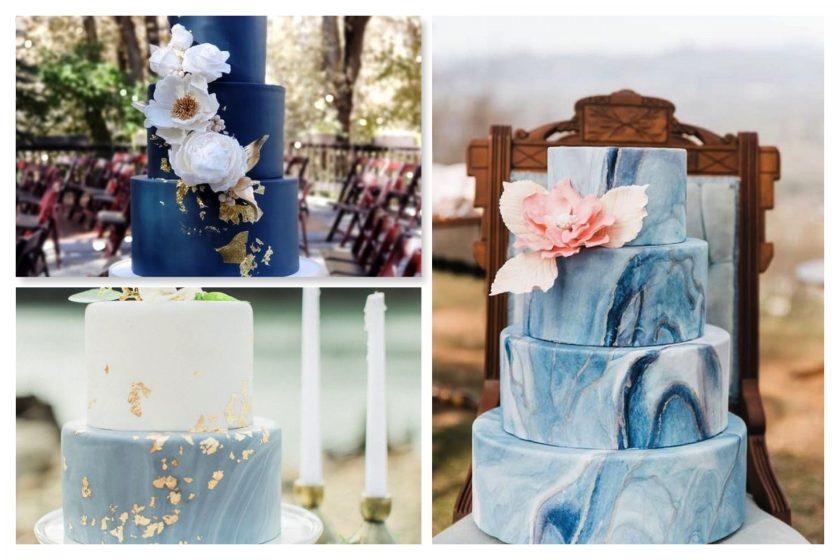 Hochzeitstorten in verschiedenen Blautönen