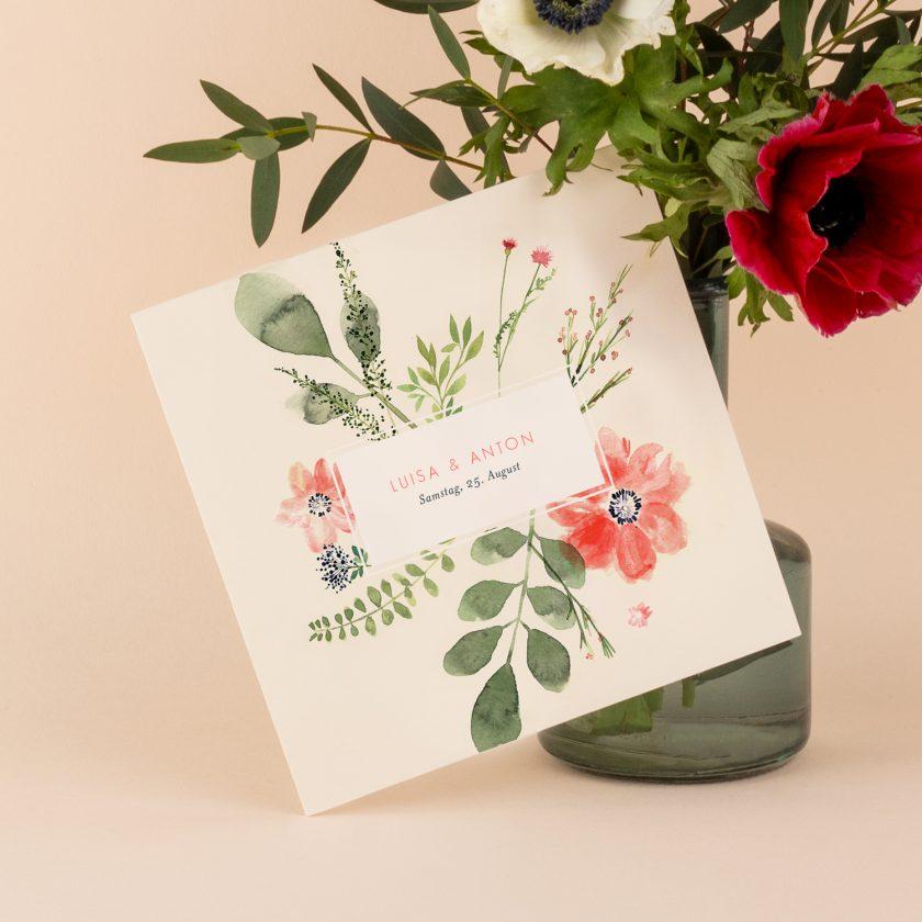 Hochzeitseinladung-blume Aquarell-online gestalten-hochzeitskarte