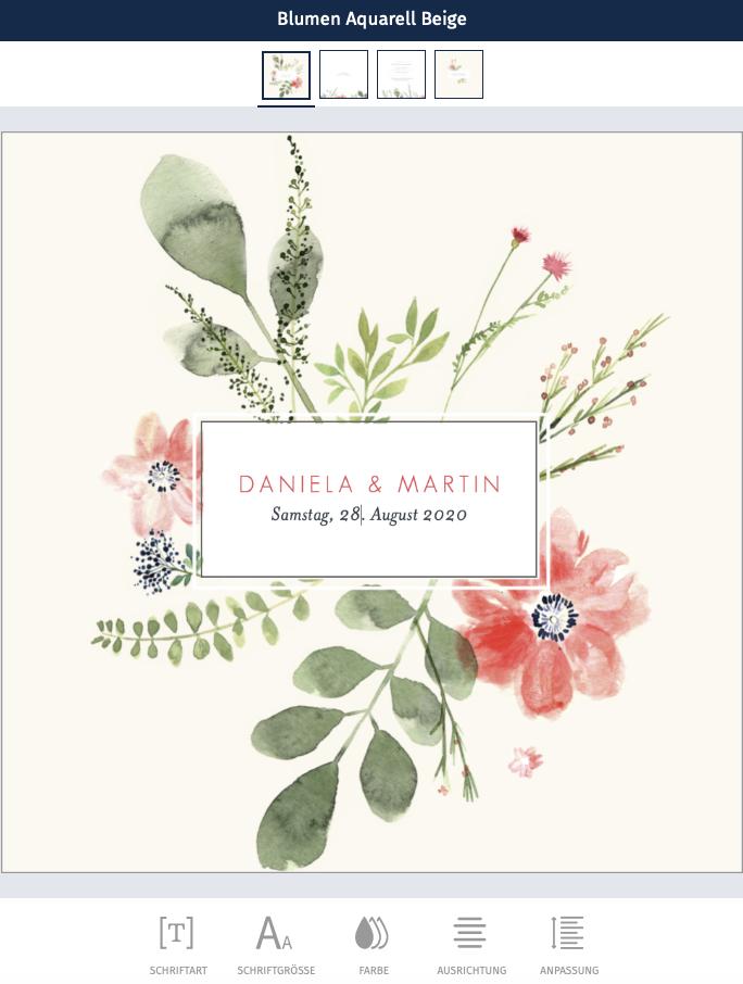 Hochzeitskarte-online gestalten-blute Aquarell