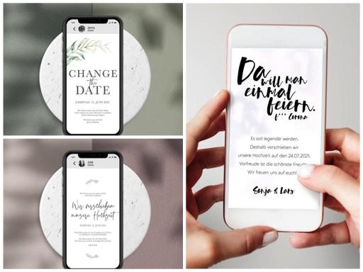 Change the date Karten-digital-Hochzeit verschieben wegen Corona