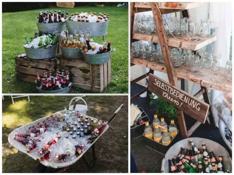 Hochzeit im eigenen Garten-Getränkekühlung-Sektempfang