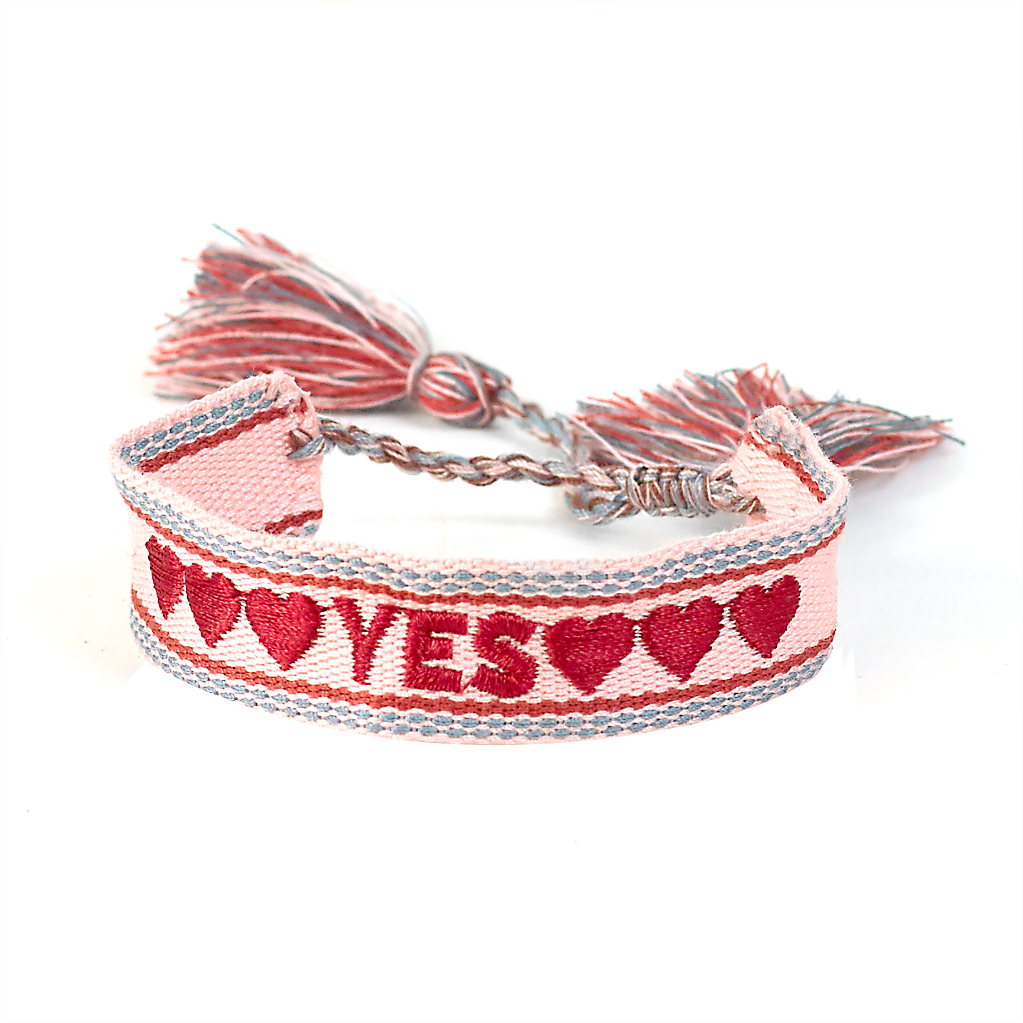 "Armband ""YES"", rosa, bordeaux, hellblau"