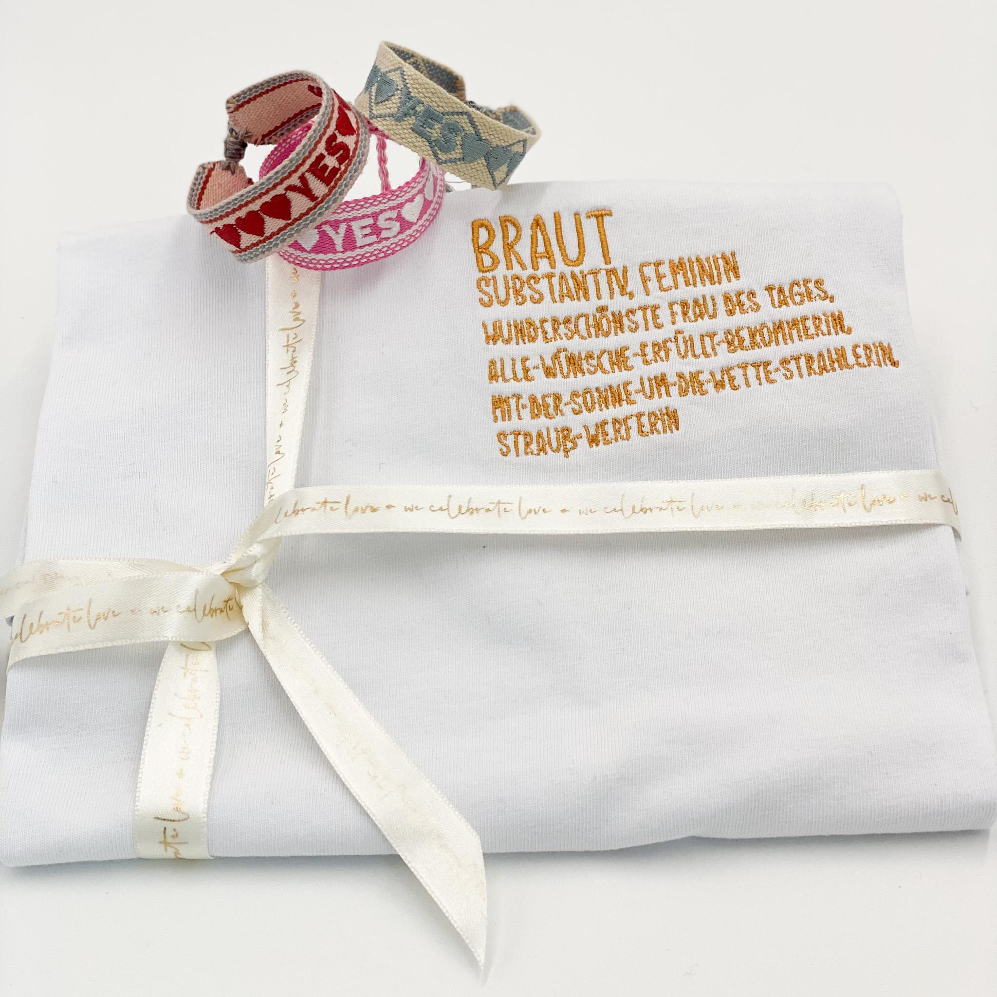Geschenkset für die Braut : T-Shirt Braut und YES Armband