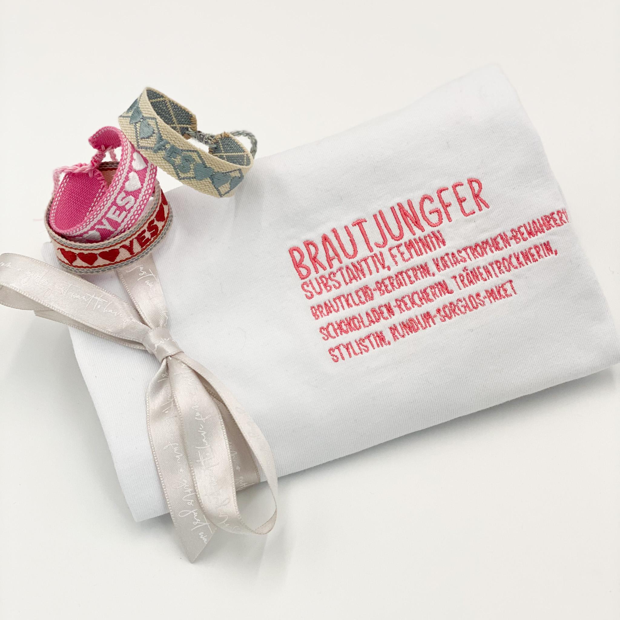 Geschenkset für die Brautjungfer : T-Shirt Brautjungfer und YES Armband