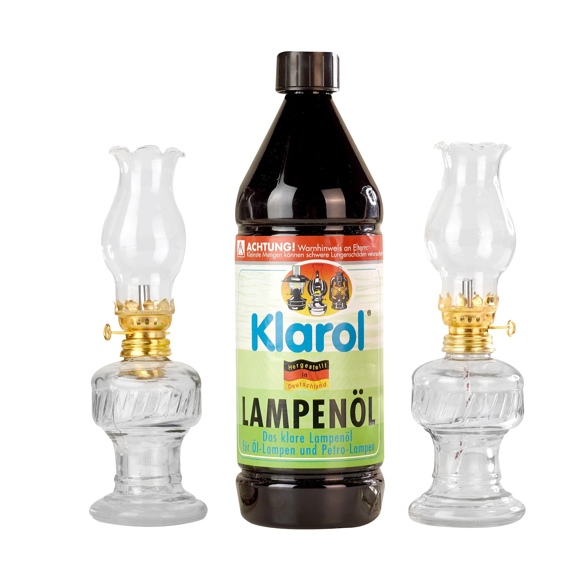 2x Öllampe aus Glas, 21 cm im Set mit Karol Lampenöl 1ltr.