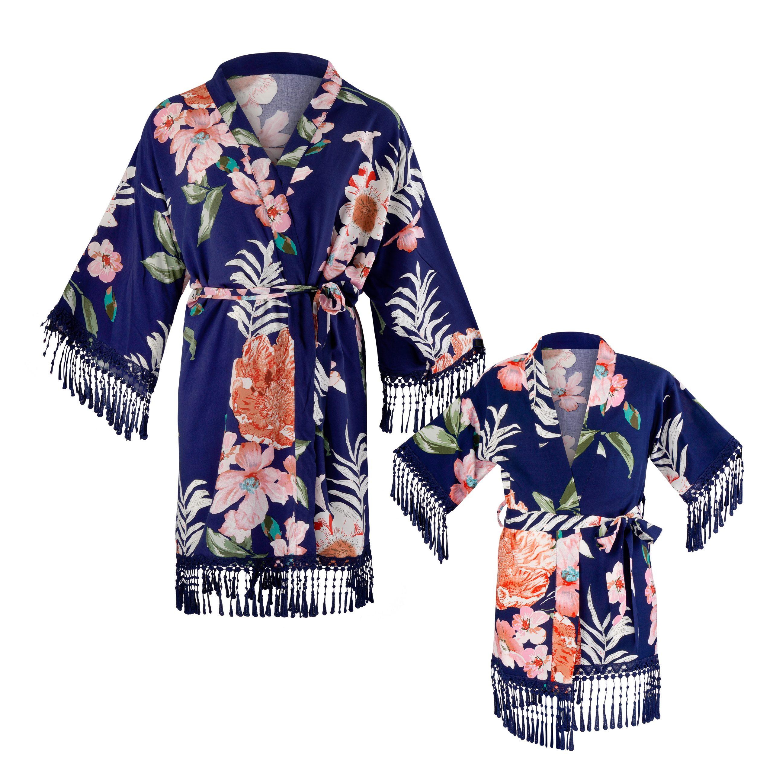 "Kimono ""paradise"", dunkelblau mit floralem Design im Set | Mini Me | für Mama und Tochter"
