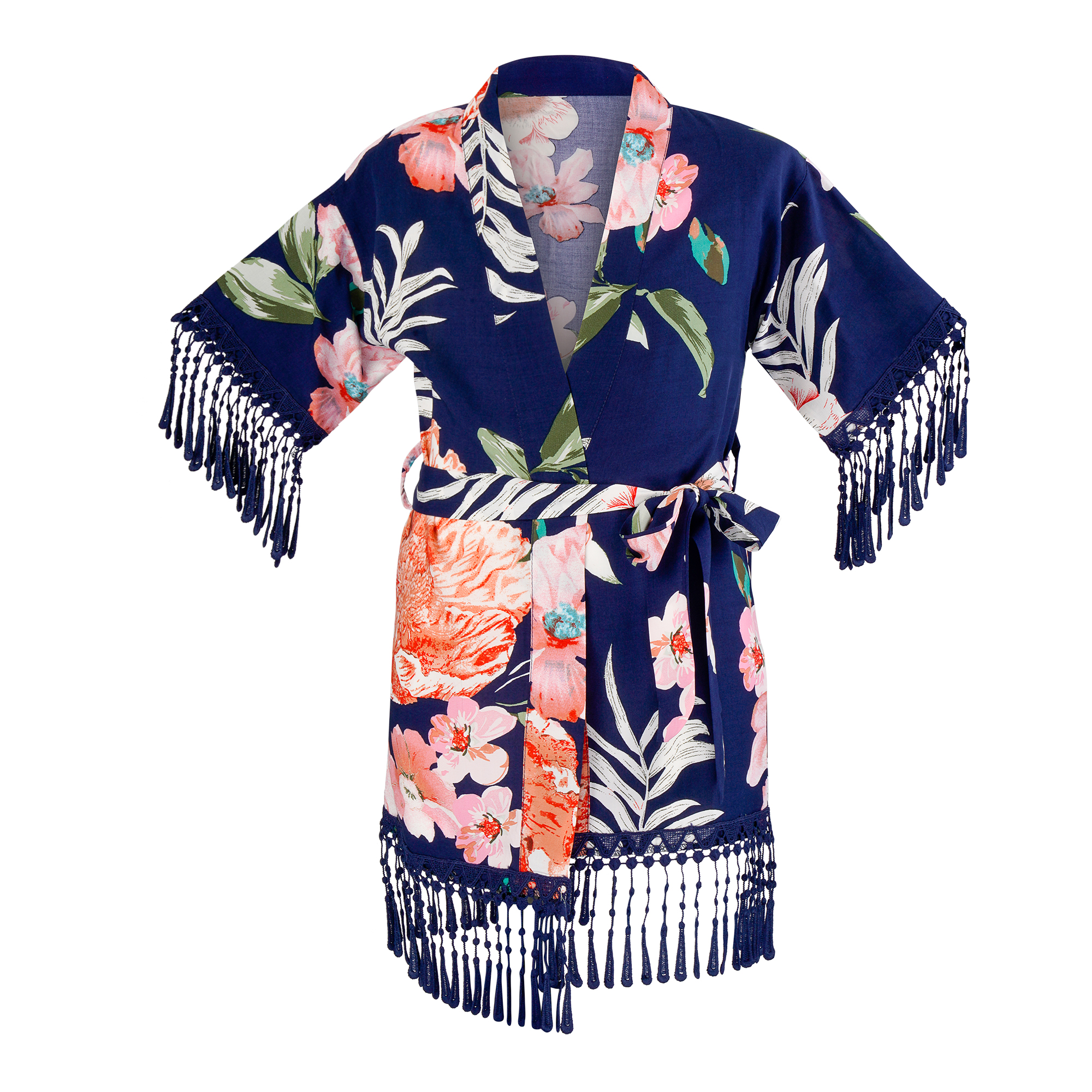 "Kimono ""paradise"", dunkelblau mit floralem Design für Kinder"