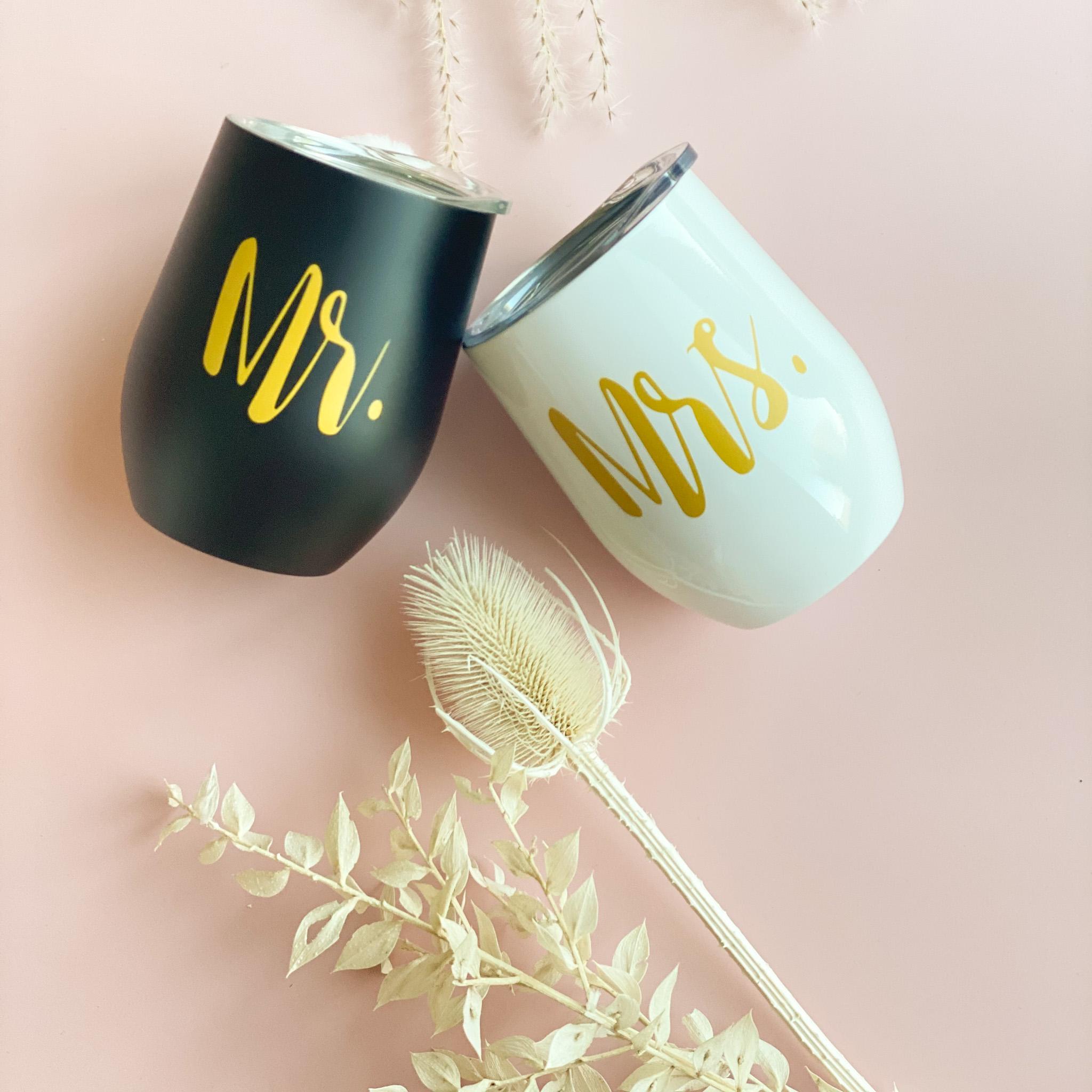 Thermobecher Mr. & Mrs. im Set | Perfektes Hochzeitsgeschenk | Weinbecher