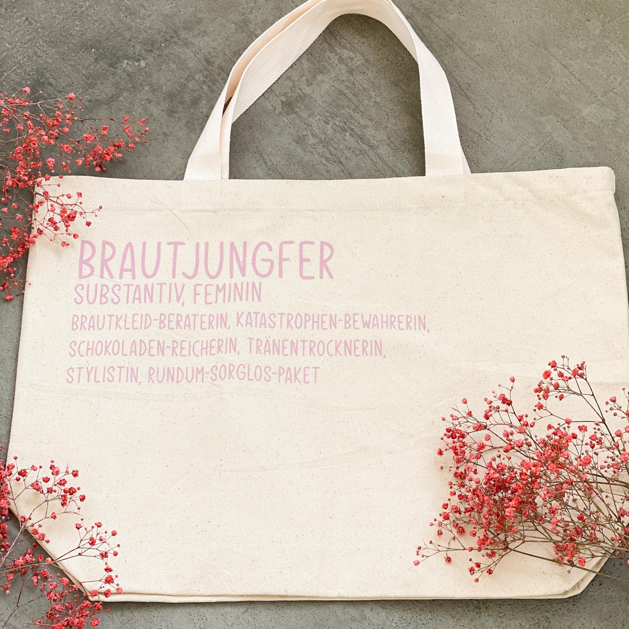 Tasche für die Brautjungfer   Shopper  Geschenk für die Brautjungfer